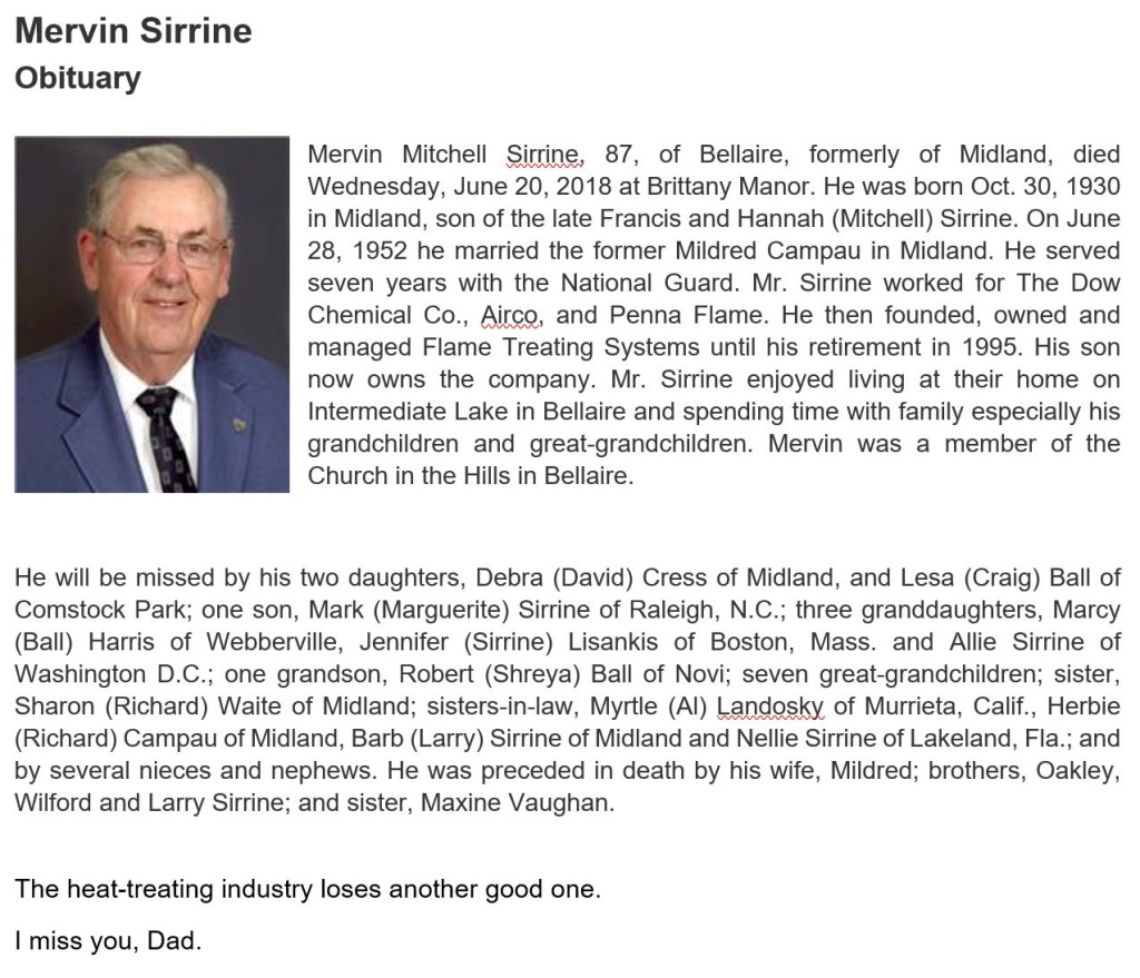 Mervin Sirrine, October 13, 1930 - June 20, 2018